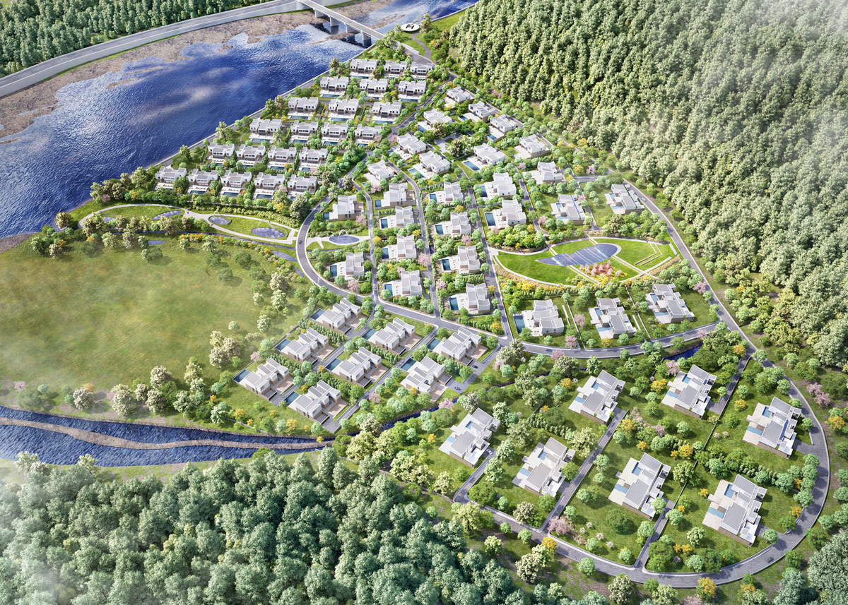 Mountain villa masterplan aerial