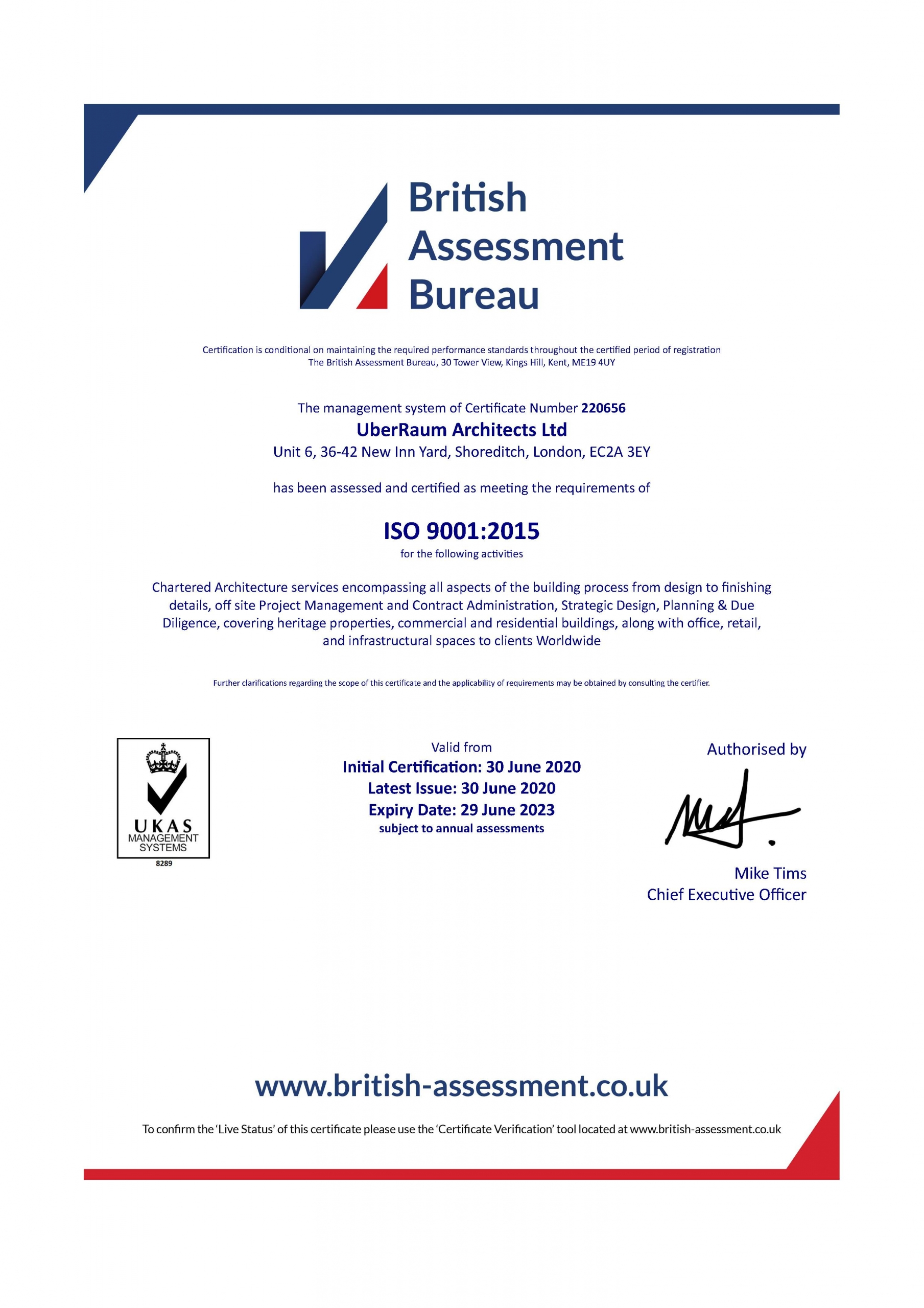 PROUD TO ANNOUNCE WE ARE ISO 20 CERTIFIED   ÜberRaum Architects